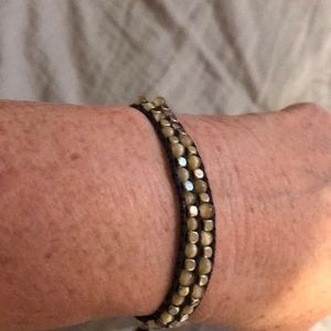 "Jewelry - Adjustable bracelet 10"" Brown W/ tan stone"